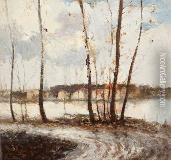 Autumn Landscape (in The Outskirts Of Paris) Oil Painting - Ivan Pavlovich Pokhitonov