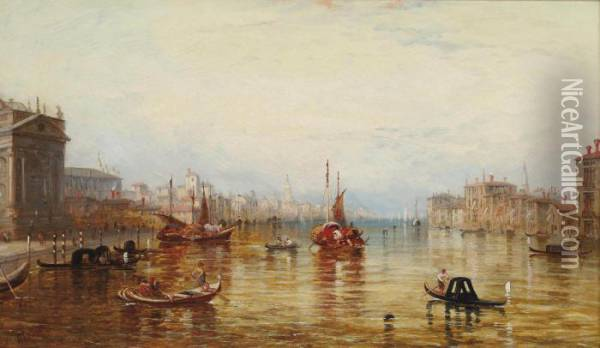On The Grand Canal, Venice Oil Painting - Alfred Pollentine