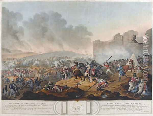 Battle of Alexandria, 21st March 1801, engraved by J. Mitan and Charles Turner, published by E. Orme, London, 1804 Oil Painting - Willermin, Lt. William
