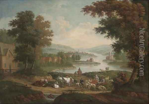 Peasants with sheep and cattle in an extensive river landscape Oil Painting - John Wootton
