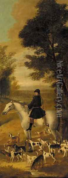 A huntsman on a grey hunter, with harriers in an extensive wooded landscape Oil Painting - John Wootton