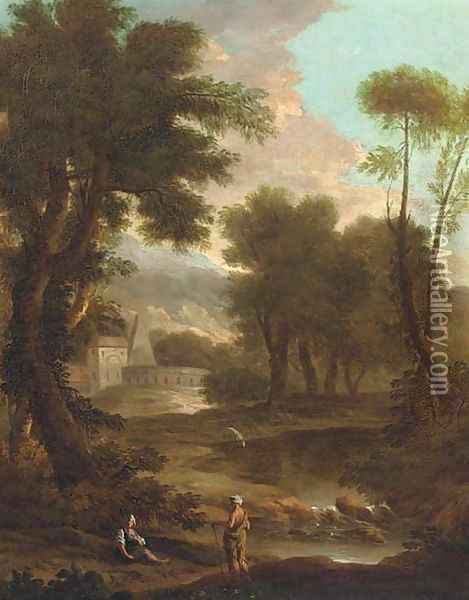 A landscape with a shepherd and shepherdess by a river, classical buildings beyond Oil Painting - John Wootton