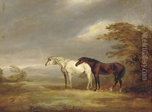 A chestnut and grey in a windy landscape Oil Painting - James Ward