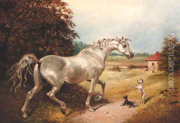 A grey with two dogs in a wooded landscape Oil Painting - James Ward