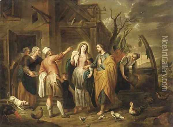 Mary and Joseph at the Inn Oil Painting - Abraham Willemsens