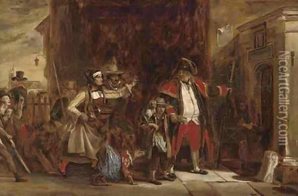 The town beadle arresting a group of players Oil Painting - Sir David Wilkie
