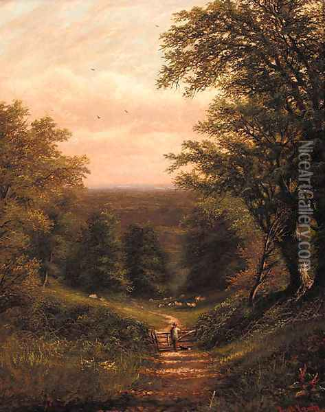 Fishing near the falls; and Surveying the flock Oil Painting - Joseph W.Yarnold