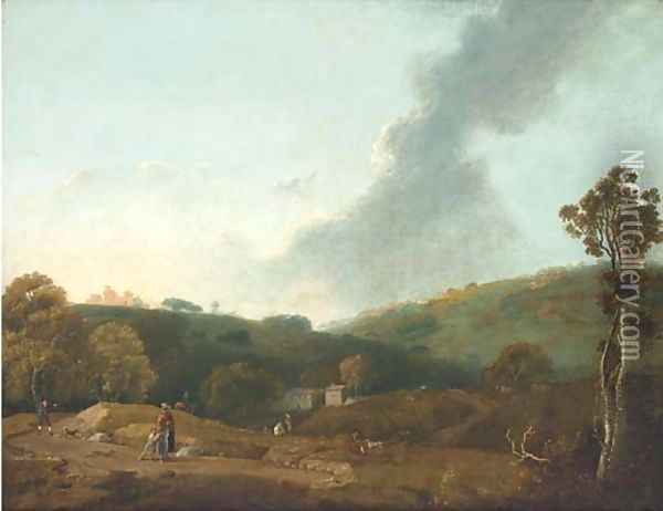 An Italianate landscape with figures Oil Painting - Richard Wilson