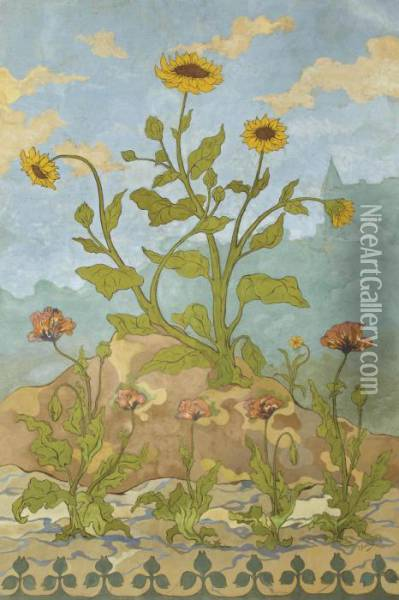 Tournesols Et Pavots Oil Painting - Paul-Elie Ranson