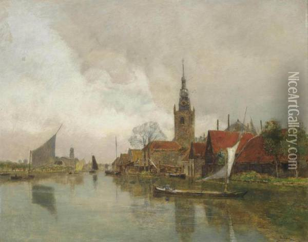 Vessels On The Schie In Overschie, In The Municipality Of Rotterdam Oil Painting - Rudolf Ribarz