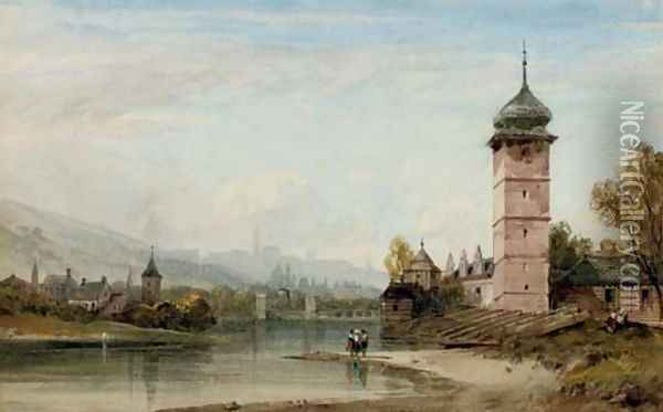 View of an Eastern European city from the river Oil Painting - William Wyld
