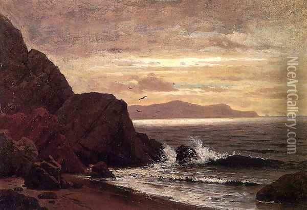 Point Lobos from Fort Point Oil Painting - Raymond D. Yelland