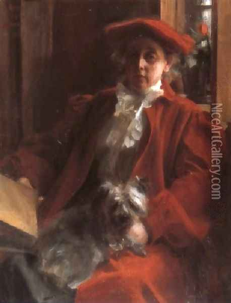 Emma Zorn och hunden Mouche (Emma Zorn and Mouche, the dog) Oil Painting - Anders Zorn