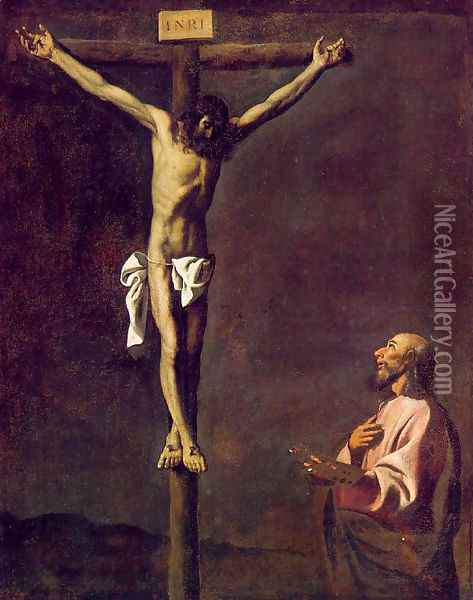 St Luke as a painter before Christ on the Cross Oil Painting - Francisco De Zurbaran