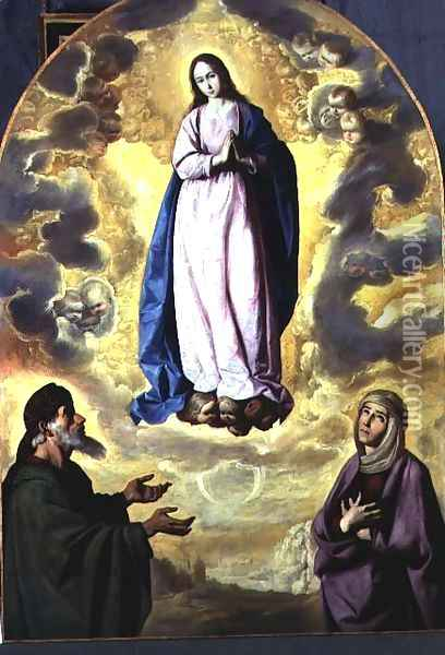 The Immaculate Conception with Saint Joachim and Saint Anne, c.1638-40 Oil Painting - Francisco De Zurbaran