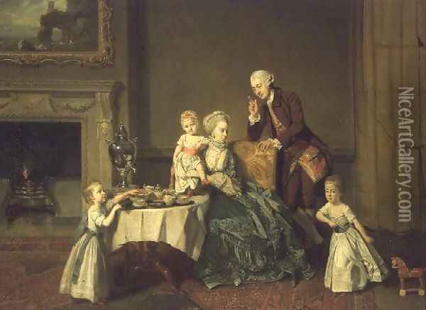 John Verney, 14th Baron Willoughby de Broke (1738-1816) and Lady Louisa North (1737-1816) his wife, 1766 Oil Painting - Johann Zoffany