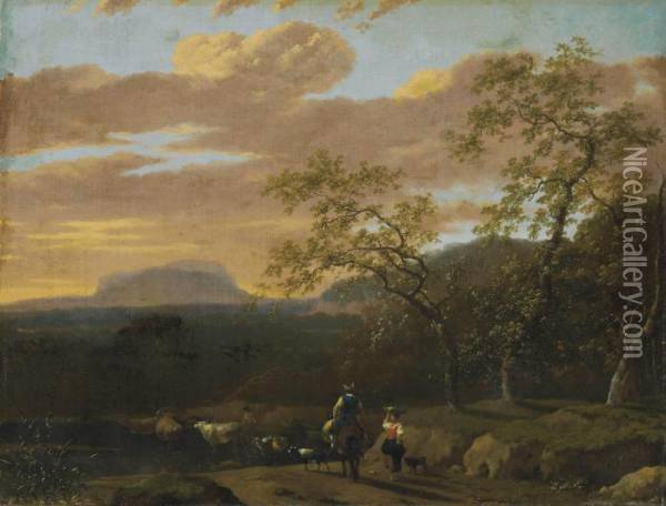 A Mountainous River Landscape With Peasants, Cows, Goats And Sheep Oil Painting - Jan Gabrielsz. Sonje