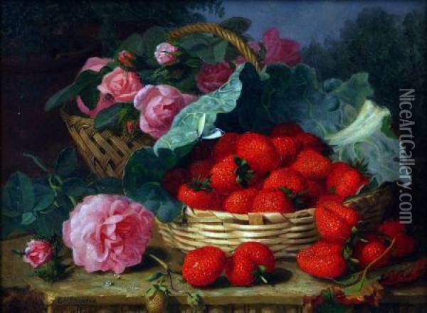Still Life Study Of Roses And Strawberries In Baskets Oil Painting - Eloise Harriet Stannard