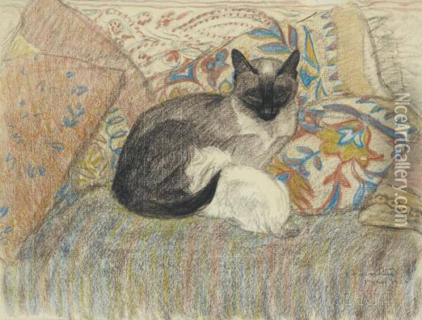 Chatte Siamoise Et Son Chaton Oil Painting - Theophile Alexandre Steinlen