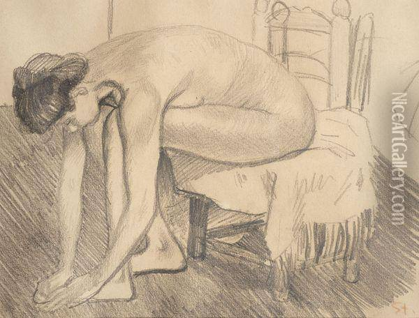 Nu A Sa Toilette Oil Painting - Theophile Alexandre Steinlen