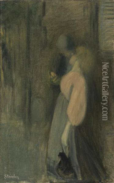 Le Baiser Oil Painting - Theophile Alexandre Steinlen