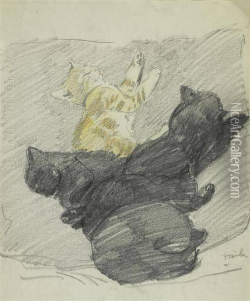 Five Sleeping Cats Oil Painting - Theophile Alexandre Steinlen