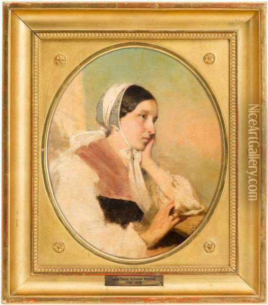 Sketch Of A Young Girl Oil Painting - Josef Karl Stieler