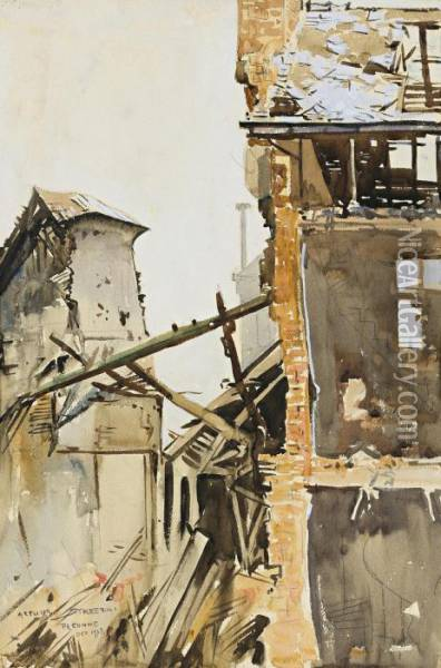 Damaged Buildings, Peronne Oil Painting - Arthur Ernest Streeton