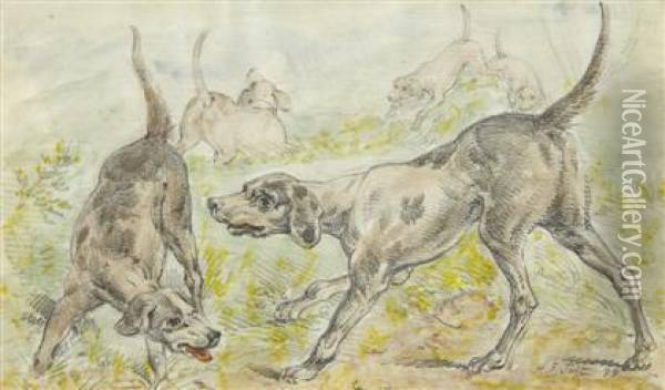 Hounds On The Scent Oil Painting - Arthur Fitzwilliam Tait
