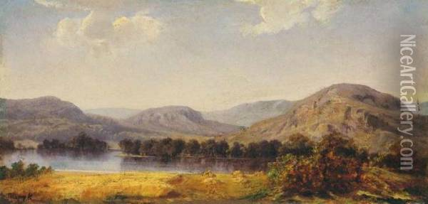 Landscape With A Lake Oil Painting - Karoly Telepy