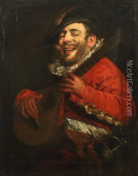 Portrait Of A 17th Century Musician Oil Painting - David The Younger Teniers