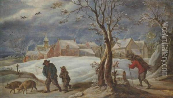 A Winter Landscape With Peasants On A Track Oil Painting - David The Younger Teniers