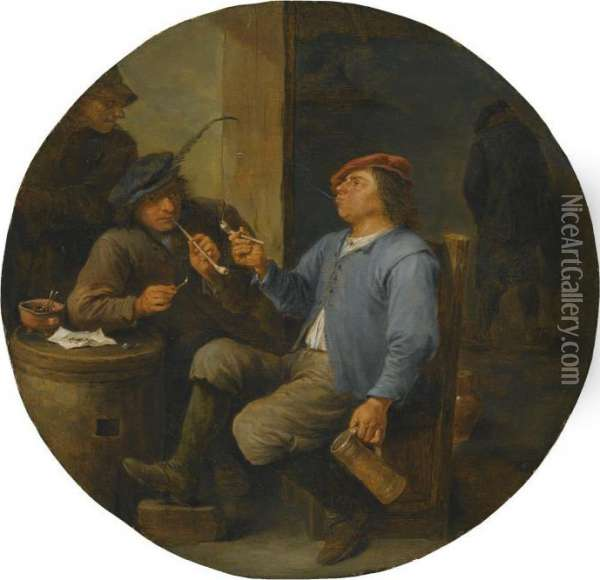 Two Peasants Smoking Pipes In A Tavern Oil Painting - David The Younger Teniers