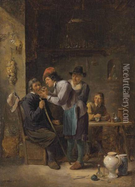 A Dentist Pulling A Tooth Oil Painting - David The Younger Teniers