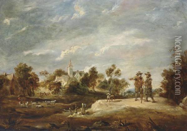 A Wooded Landscape With Two Figures Conversing Oil Painting - David The Younger Teniers