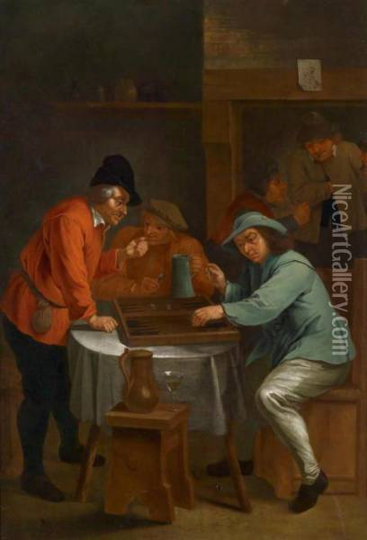 Two Tavern Scenes Oil Painting - David The Younger Teniers