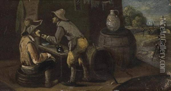 Two Scenes With Carousing Peasants Oil Painting - David The Younger Teniers