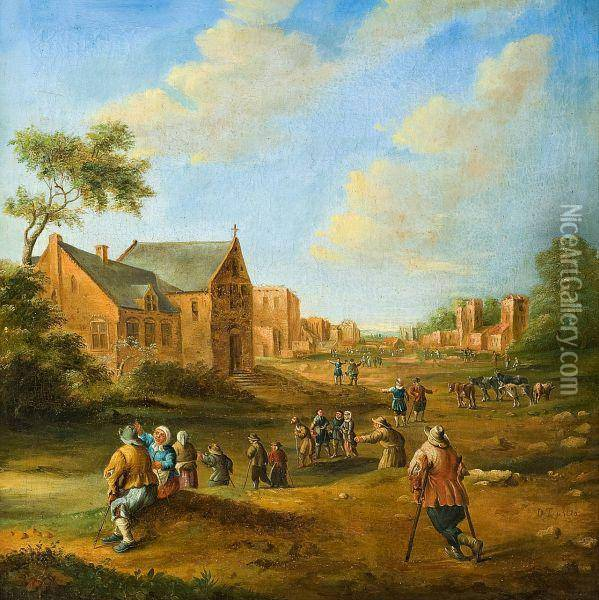 Busy Village Scenery Oil Painting - David The Younger Teniers