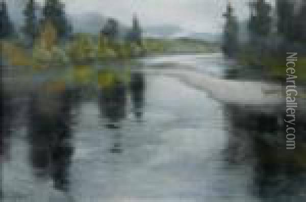 Autumn Day In Norway, View From The River Vallar To The Landscape Of Telemark Oil Painting - Fritz Thaulow