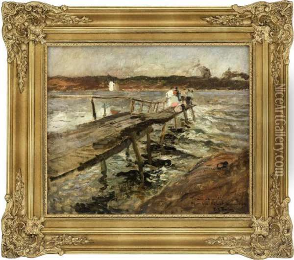 Brygge Ved Filtvedt Oil Painting - Fritz Thaulow