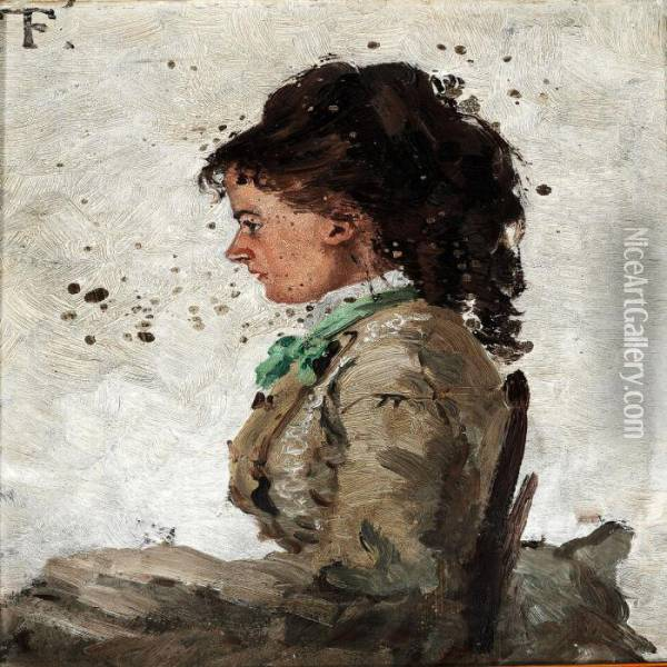 Portrait Of The Painter's First Wife Ingeborg Charlotte Gad Oil Painting - Fritz Thaulow