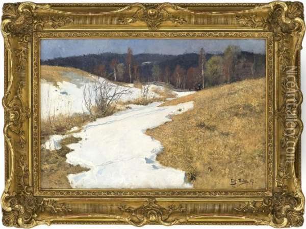 March Day Oil Painting - Fritz Thaulow