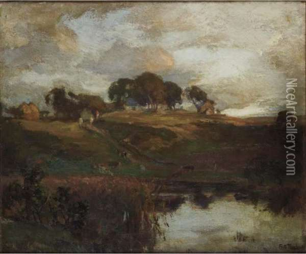 A Pond In Autumn Oil Painting - Fritz Thaulow