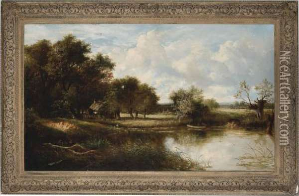An Angler In An Extensive River Landscape With Cottages And Cattle Oil Painting - Joseph Thors