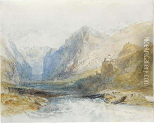 The Domleschg Valley, Looking North To The Gorge At Rothenbrunnen Oil Painting - Joseph Mallord William Turner