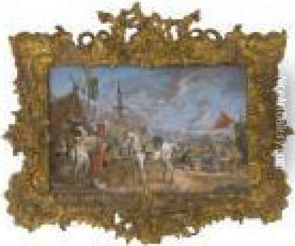 Views Of Military Camps Oil Painting - Louis Nicolael van Blarenberghe