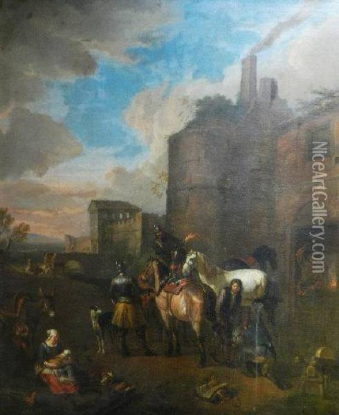 The Forge - Cavalry Men Outside The City Walls Oil Painting - Pieter van Bloemen