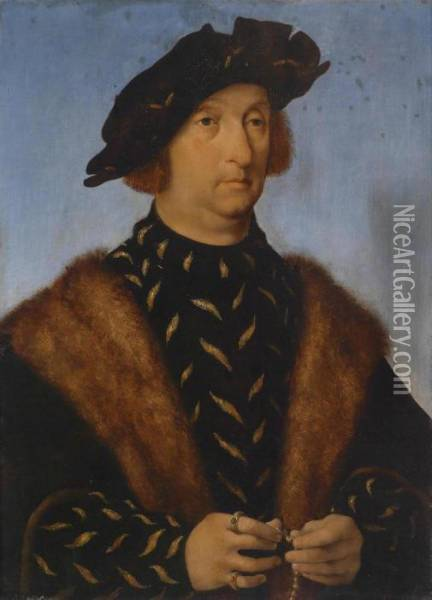 Portrait Of A Man Holding A Rosary Oil Painting - Joos Van Cleve