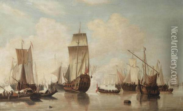 A Yacht And Other Ships Oil Painting - Willem van de, the Elder Velde