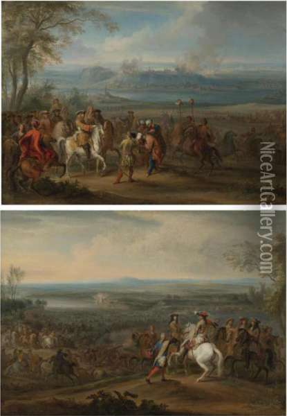 The French Army Crossing The Rhine At Lobith Oil Painting - Adam Frans van der Meulen